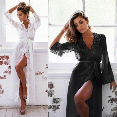 Women's-Long-Sleeve-Lace-Dress-Sexy-Lingerie-Robe-Sheer-G-String-Night-Set AY