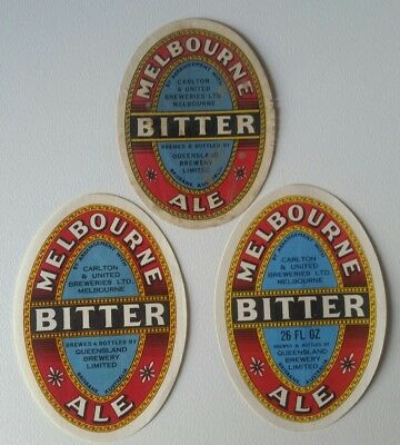 3 Old Melbourne Bitter Ale Queensland Brewery Beer Labels Free Post Australia