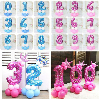 32 inch CHANNEL Number Crown Foil Balloons Wedding Birthday Baby Shower Boy Girl