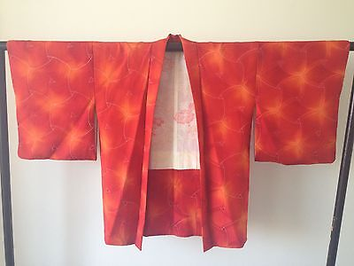 Vintage Red Silk Kimono Haori Jacket Japanese Costume Hand Made One of a Kind