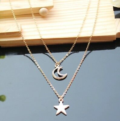 """Gold Plated Double Layer Crescent Moon And  Star Pendant Necklace 18"""" N52"""