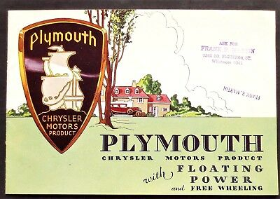 Original 1931 Plymouth Floating Power Deluxe Sales Brochure ~ 16 Pages ~ Pfp31