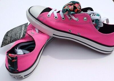 Converse Kids All Star Double Tongue Shoes Neon Pink White/Black Size 6