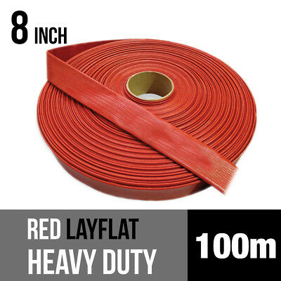 PVC Heavy Duty Red Layflat Hose 8 inch (200mm) - 100 metre roll