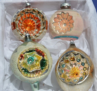Lot of 4 Vintage Fancy Glass Christmas Ornament Indents and Mica Pink Orange