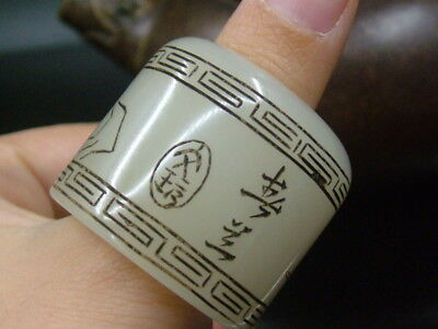 """Antique Chinese Celadon Nephrite white-JADE-Archer's Hollowe Thumb Rings """"paint"""""""