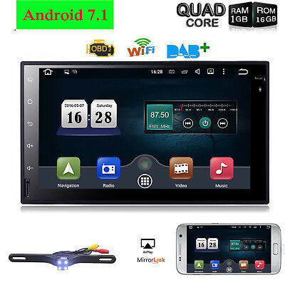 Android 7.1 7 in WIFI Car Stereo GPS Radio 4G BT + rear view parking Camera Fast