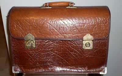 Vintage Retro Tosca Tan Leather Expander Breif Case Made In Australia