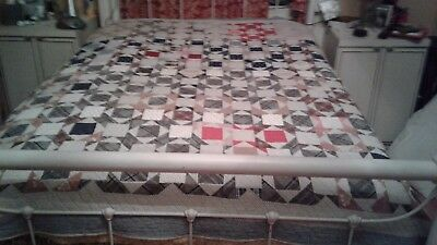 30's Vintaget Antique Quilt Beautiful  Shades of Browns and greys, white, black.