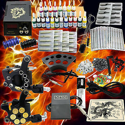 Neu Tattoomaschine Komplett Set Tätowierung Tattoo Kit Tattoo Set +20Inks DE