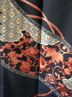 Japanese Antique Kimono Vintage Black Silk Embroidered Hand Made One of A kind