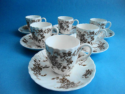 Minton Ancestral Set Of 6 Coffee Demi Cups And Saucers - Like New