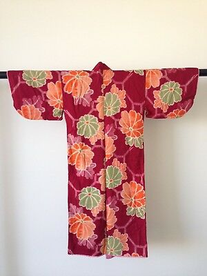 Small Childs Floral Japanese Antique Kimono Vintage Hand Made One of A kind