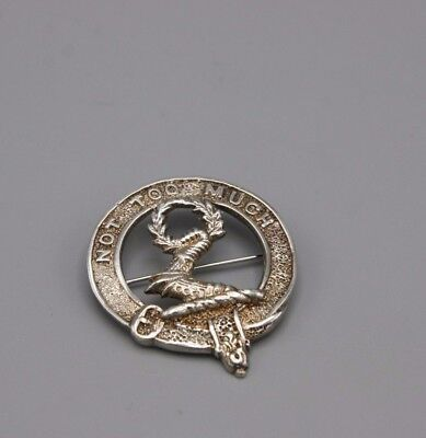 Vintage 80s Scottish Clan Pin Sterling Silver MacKinlay Not Too Much
