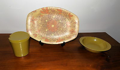 Vintage Bessemer Sugar Bowl psychedelic Floral Plate and Small Dish Olive Green