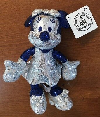 "New Disneyland 60th Anniversary Sequin Minnie Mouse 9"" Plush Dolls"