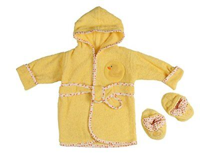 Little Beginnings Infant Plush Terry Bath Robe and Booties with Duck Applique