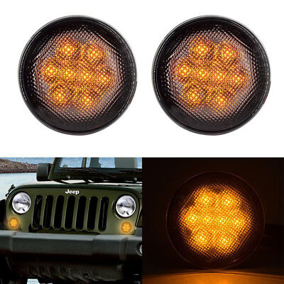 Car LED Turn Signal Light Assembly with Smoke Lens for 07-17 Jeep Wrangler JK