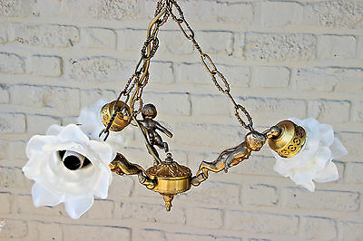 French 1950's Brass 3 arms Putti angels tulip shades chandelier