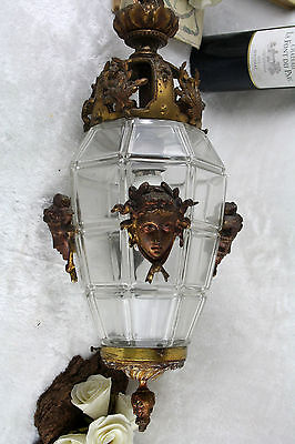 Antique French Medusa portrait head glass bronze lantern chandelier lamp 1925