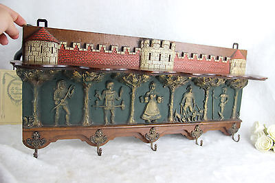 French Medieval Castle knights Figurines angels wood Hall wall coat rack 1950's