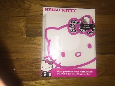 Hello Kitty iPad Portfolio Case with Stand Fits iPad 2nd, 3rd and 4th Gen -New