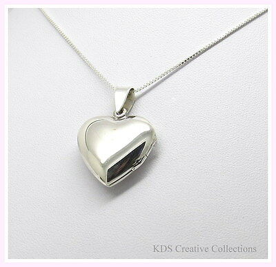 925 Sterling Silver Heart Locket Pendant Necklace with 18 Inch Box Chain