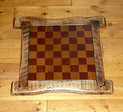 Wooden rustic oak, teak and mahogany chess board