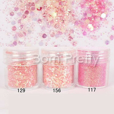 10ml Pink Dazzling Nail Art Glitter Powder Sequins Sheets For Manicure Tools