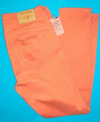 31 Pre-Owned TRUE RELIGION BROOKLYN OVER-DYED PEACH SKINNY CROPPED CAPRI JEANS
