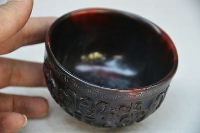 DELICATE CHINESE old OX HORN HAND CARVED character of longevity BOWLS