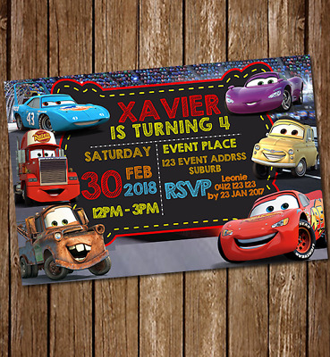 Cars McQueen Birthday Party Invites Boys Invitations Personalised