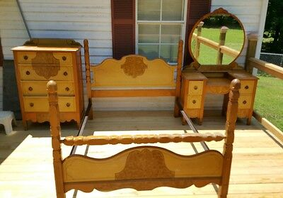 RARE Antique Vintage 1930s Blonde Bedroom Set Wooden Dresser Chest Vanity