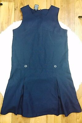 Girl's George School Uniform Jumper Dress With Buttoned Waist Size 16 Navy Blue