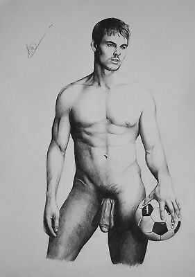 CLASSIC MALE NUDE 3. Gay interest DRAWING. RCA artist  A3 size. by Neil