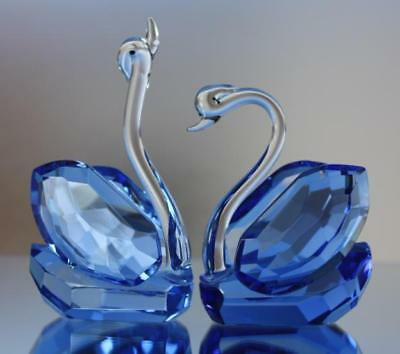 Crystal Glass Swan Pair (blue) Decor Gift