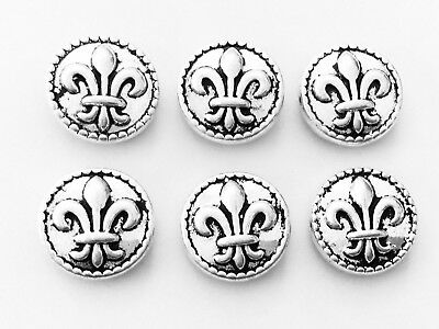 6 Antique silver plated lead Free base metal fleur de lis spacer beads