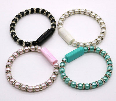 Wristband Fr iPhone 5 6 Android USB Data Sync Charger Pearl Beaded  Bracelet