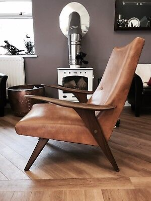 Mid Century Scandinavian Style Leather Wooden Arm Chair