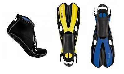 Mares Volo One Snorkel Fins Size 35 to 47 Yellow or Blue with Neoprene Socks