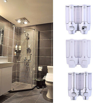 Double Soap Sanitizer Shampoo Dispenser Wall Mount Kitchen Shower Bathroom New