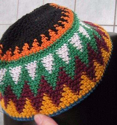 Ethnic-unused-bought in Egypt 1980's-beanie/scull style hat crotchet-orange/gree