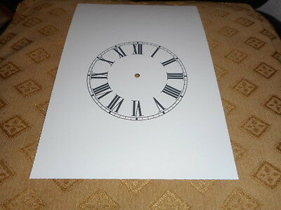 "Steeple Paper Clock Dial -4 1/4"" M/T -Roman Numerals - White - Face /Clock Parts"