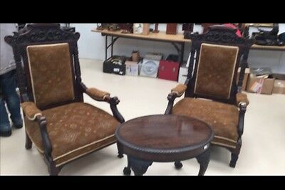 A Pair Of Very Large 19th C Solid Carved Wood Open Back Arm Chairs