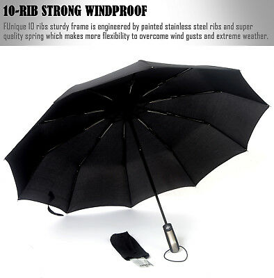 10 Ribs Reinforced Windproof Rain Umbrella Automatic On Off One Hand Operation
