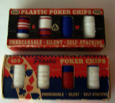 2 Vintage Boxes Of 100 Plastic Self-Stacking Poker Chips
