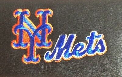 MLB New York Mets Black Leather Checkbook Officially Licensed Embroidered