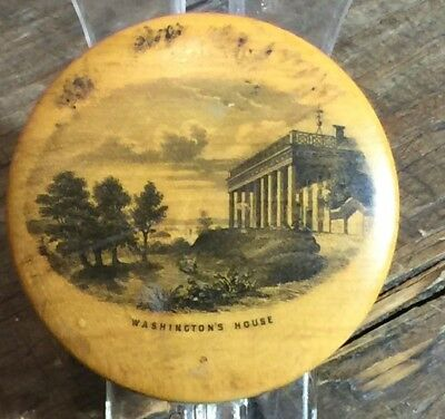 Early Antique Washingtons House Treen Mauchline Ware Stamp Box 1892-2 Cent Stamp