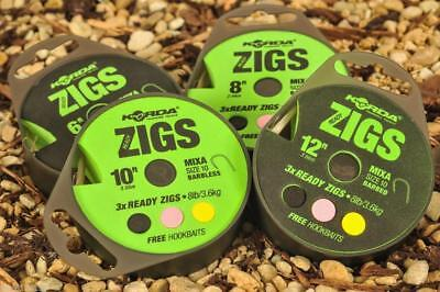 KORDA READY TIED ZIGS RIGS - barbed or barbless - ALL SIZES