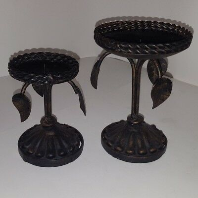 2 pc antique vintage rustic leaf candle holders set great condition